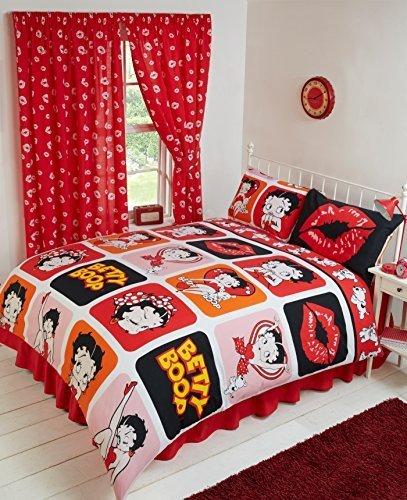 Doppelbett Betty Boop Bild perfekt, Bettdecke/Bettdecke Bettwäschegarnitur vollständig wendbar, gepunktet Wink Hearts pummelig Hund Lippen Kuss Fußtritt klassisch Kultig Bilder, schwarz weiß rot pink (Betty Boop Bettwäsche-set)