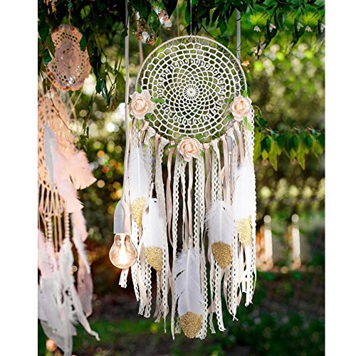 AerWo Kit de bricolaje Dream Catcher con brillo de oro Pluma de pared