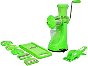 Swara Kitchen Combo of 3-Manual Juicer with Steel Handle, 6 in 1 Multi-Purpose Slicer & 2 in 1 Multi Veg Cutter with Peeler, Green