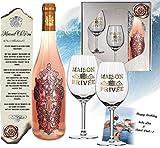 DAS Rosewein Geschenk mit 2 Gläsern limitiert auf 5.000 Flaschen Frankreich Rose im edeln Geschenkset Silber Moment Clè Vintage Weine aus Bordeaux für Weinfreunde, Frau und Freundin, Geburtstag