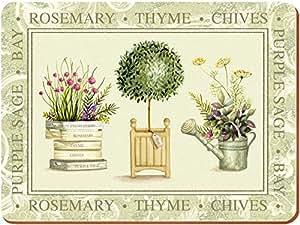 Creative Tops Lot de 4sets de table, XL, envers en liège, motif plantes