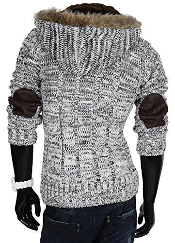 Tazzio pull à capuche pour homme en tricot cardigan en tricot pour l'hiver Blanc - blanc