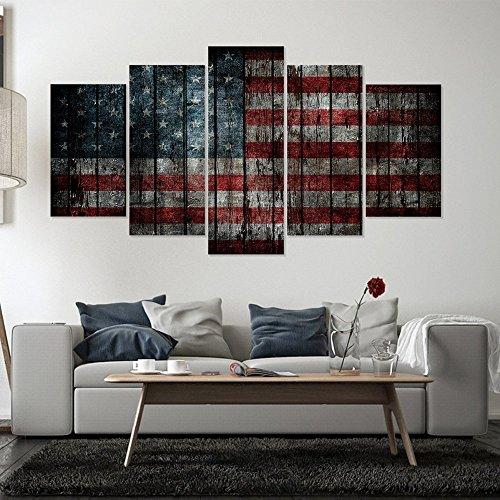 7JOHN Leinwand Malerei, 5 Stücke American Star Flag Poster Wandkunst Bilder (Flag-bild American)