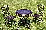 Exklusive Sitzgruppe Santos, Gartentisch mit 2 Stühlen, Gartengarnitur, sehr stabile Metallausführung, klappbar