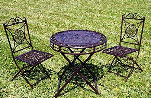 Krippenbaustudio Böhner Exklusive Sitzgruppe Santos, Gartentisch mit 2 Stühlen, Gartengarnitur, sehr stabile Metallausführung, klappbar