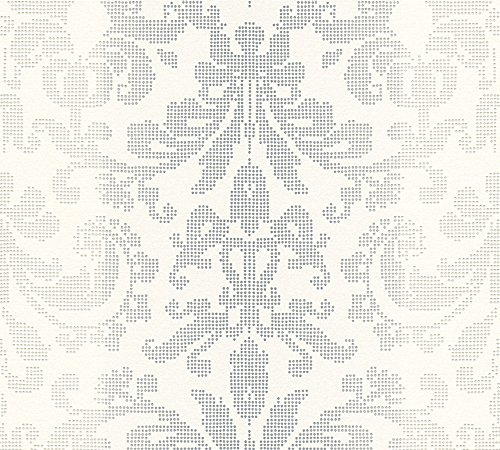 A.S. Création Vliestapete Reflection Tapete mit Ornamenten barock 10,05 m x 0,53 m grau metallic weiß Made in Germany 319953 31995-3
