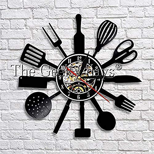 SSCLOCK Vinylaufzeichnungswanduhr-Chefmesser und -Gabel entwerfen dekoratives Uhrwandbehangtabellenausgangsdekorationsgeschenk der Vinylaufzeichnungsmusikzeit 3D