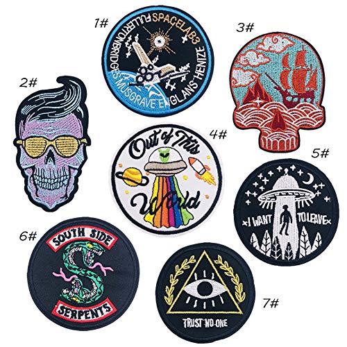 Mokita Aufnäher Stickerei Abzeichen Aufbügler Sticker DIY Totenkopf Alien UFO Kunst Basteln Nähen Stricken für Kostüme Jeans Tasche T-Shirt Jacken 7 Stück (Kostüm Diy Alien)