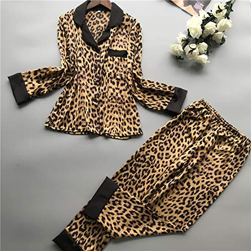 Leoparden-print-hose Im Set (XMDNYE Sommer Frauen Pyjamas Sets Mit Hosen Seide Homewear Satin Leopard Print Sexy Pijama Langarm Pyjamas Dünnen Nachtwäsche)