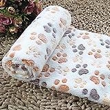 QHGstore Doux chaud Pet Fleece Blanket Bed Mat Pad Cover Coussin Pour Chien Chat Chiot animaux Beige Footprint S