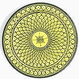 Marokkanischer Teller Gelb 22cm | bunte marokkanische Keramik Teller bunt aus Marokko | Große Keramikschalen flach Geschirr aus dem Orient handbemalt