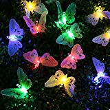 lederTEK Waterproof Solar String Lights 20LED Colorful Fiber Optic Butterfly Lights Christmas Decorative Lighting for Outdoor, Home, Garden, Patio, Lawn, Balcony, Party