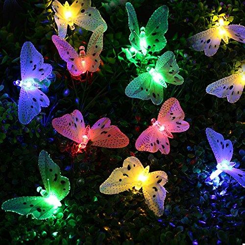 lederTEK Waterproof Solar String Lights 20LED Colorful Fiber Optic Butterfly Lights Christmas Decorative Lighting for Outdoor, Home, Garden, Patio, Lawn, Balcony, Party