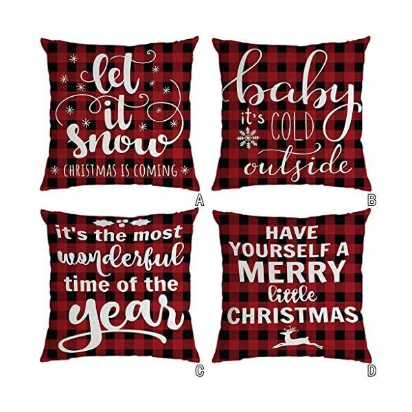 IJKLMNOP Christmas Pillow Square Pillow Case Lino Mat 45x45cm es Adecuado para oficinas, Casas, automóviles, cafeterías… 2