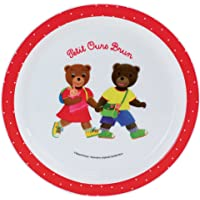 FUN HOUSE 005441 Petit Ours Brun Assiette Micro-ondable pour Enfant, Polypropylène, Blanche, 22 x 22 x 1 cm