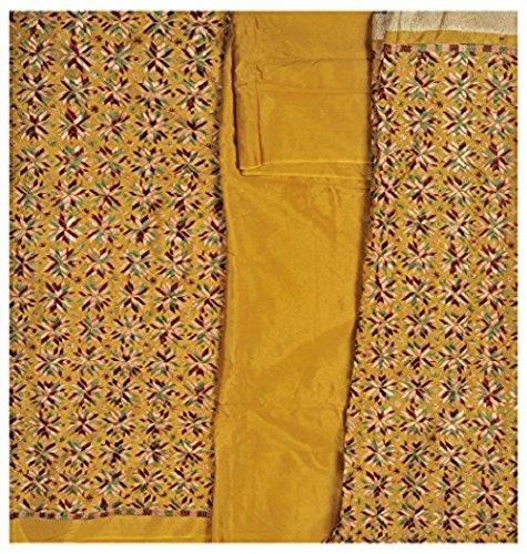 Exotic India Phulkari Salwar Kameez Fabric From Punjab with Ari Embroidery All-O...
