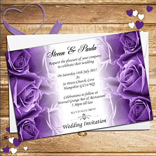 Amazing 10 Personalised Purple Roses Wedding Day Evening Invitations N62