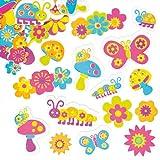 """Coole Moosgummi-Aufkleber """"Garten"""" - Sticker Set zum Basteln für Kinder und als Dekoration ideal für Karten (100 Stück)"""