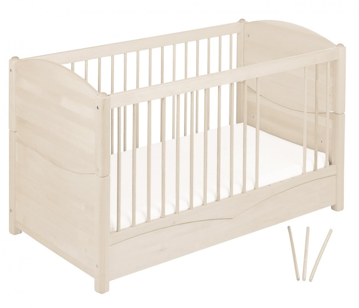 BioKinder 22128 Bed for babies and toddlers Luca from biological wood Bio-Kinder Bed Luca for Babies and Toddlers Adjustable height. 3 removable bars. Various features Sustainable solid biological wood (alder/pine). Biological finish 4