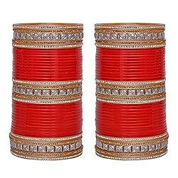 Lucky Jewellery Red Bridal Punjabi Chudas , Wedding Chudas With American Diamond Chura Set Size Of 2.6