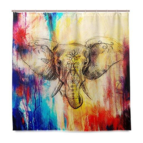 ShineSnow Badezimmer Dusche Vorhang Zeichnung Design Haltbarer Stoff Bad Vorhänge Elefant Schimmelresistent Wasserdicht Badezimmer mit 12Haken 183,0cm x183,0cm