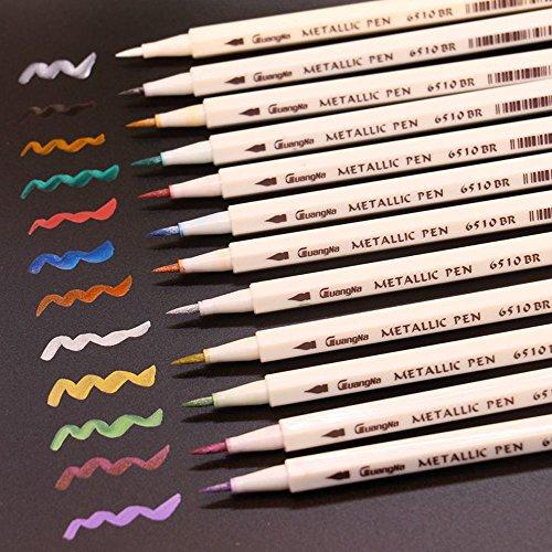 12 Farben Metallic Marker Pens für Kartenherstellung