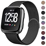CAVN Compatible with Fitbit Versa Strap/Fitbit Versa Lite Strap, Metal Stainless Steel Bands Quick Release Replacement Wriststrap with Unique Magnet Lock for Fitbit Versa/Fitbit Versa Lite