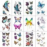 WYUEN 12 Teile/los Schmetterling Temporäre Tattoo Aufkleber für Frauen Männer Körperkunst Erwachsene Wasserdichte Hand Gefälschte Tatoo 9,8X6 cm W12-03