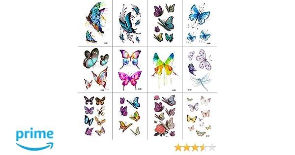 4d815d594 WYUEN 12 PCS/lot Butterfly Temporary Tattoo Sticker for Women Men Body Art  Adults Waterproof Hand Fake Tatoo 9.8X6cm W12-03: Amazon.co.uk: Beauty
