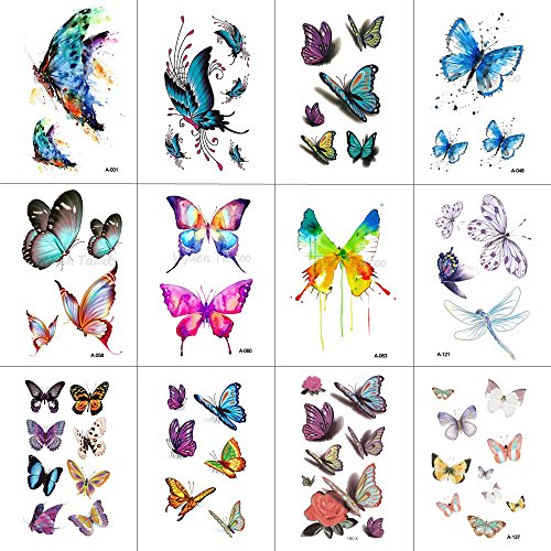 Wyuen 12pezzi/lotto farfalla tatuaggi temporanei per donna uomo body art adulti impermeabile mano finto tatoo 9.8x 6cm w12–03