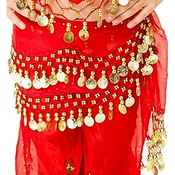 Ceinture de danse orientale danse du ventre enfant fille en chiffon et sequins - Rouge