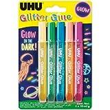 UHU Glitter fluorescente Glue Glow in the dark 5x10ml
