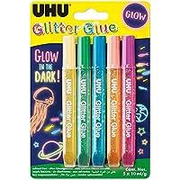 UHU Glitter Glue Glow in the dark, 10ml, lot de 5