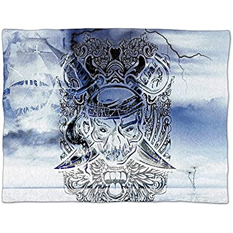 Fantasma pirata – Manta polar suave manta de piel sintética, azul, Small Fleece Blanket 50x40in