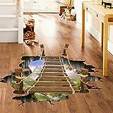12shage 3D-Brücken-Boden-Wand-Aufkleber-entfernbare Wandabziehbild-Vinylkunst-Wohnzimmer