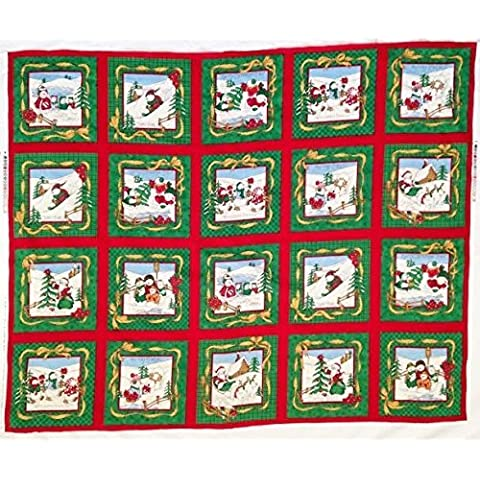 Snowmen at Play 7.5 Inch Quilt Blocks Christmas Fabric Panel - 20 Quilt Blocks (Great for Quilting, Sewing, Craft Projects, Quilt, Pillow & More) 35 X 44 by Christmas Fabric