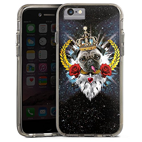 Apple iPhone 7 Bumper Hülle Bumper Case Glitzer Hülle Mops King Zunge Chien Dog Bumper Case transparent grau