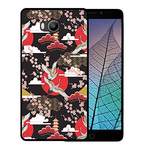 WoowCase Elephone P9000 Lite Hülle, Handyhülle Silikon für [ Elephone P9000 Lite ] Japanische Kunst Traditionelle Ornament Handytasche Handy Cover Case Schutzhülle Flexible TPU - Schwarz