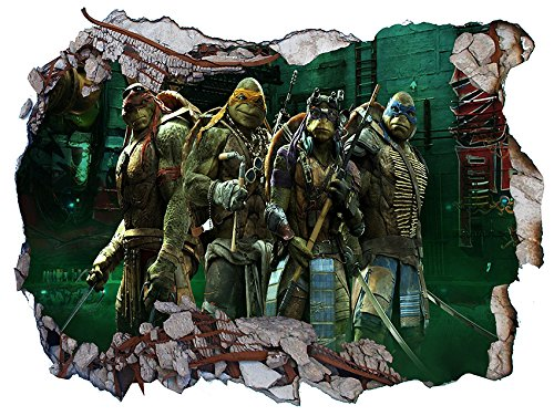 Chicbanners TMNT Teenage Mutant Ninja Hero Turtles V403 Wall Crack Smash Wandtattoo Selbstklebende Poster Wall Art Größe 1000 mm Breit x 600 mm Tief ()