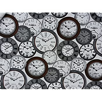 World Time Clocks Print Fabric 100 Cotton Vintage