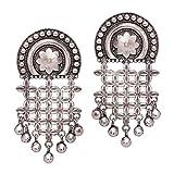 #5: Trijya Exports Designer Floral Shape Look Like Original Silver Oxidised Earrings For Womens & Girls