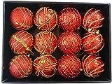 Confezione da 12 Deluxe Decorato Rosso con Perline d'Oro 8cm Baubles Albero Di Natale
