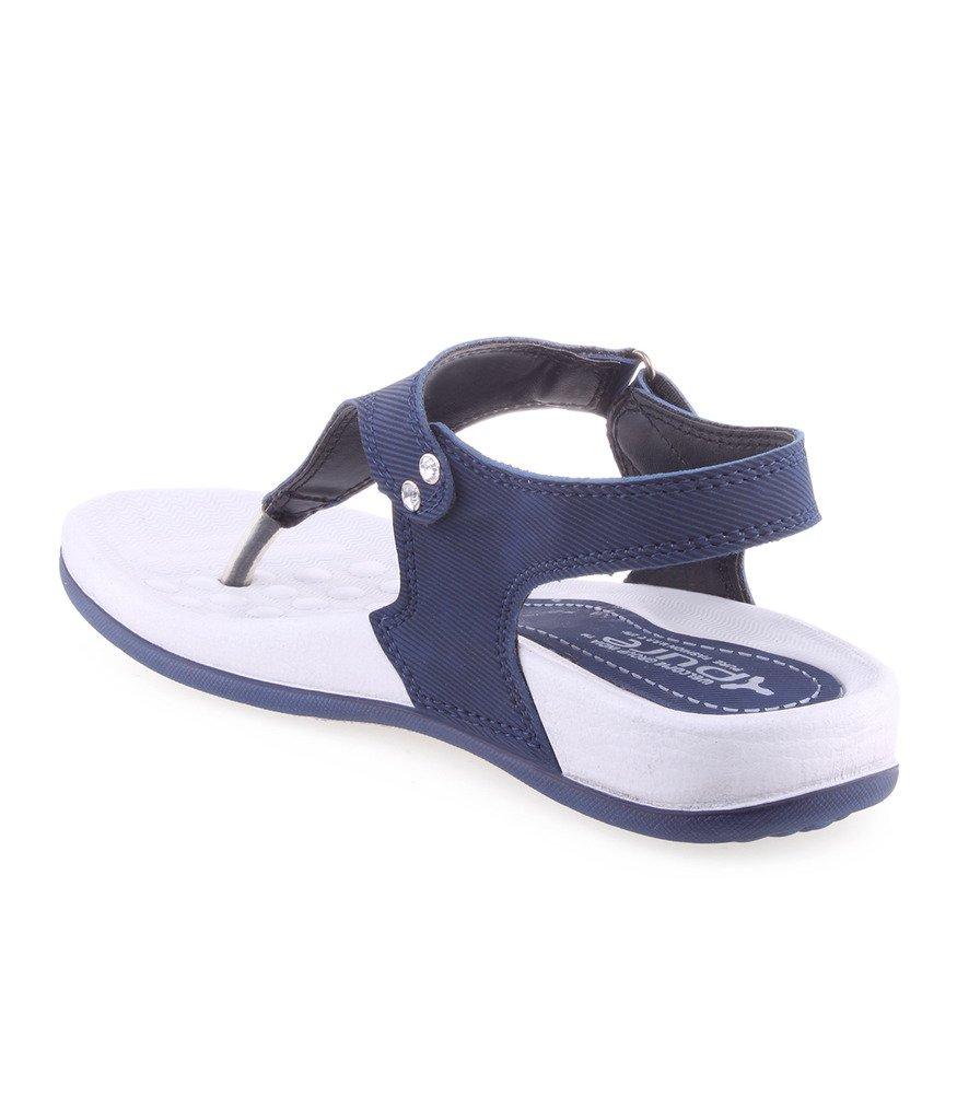 WELCOME Women's Blue Flip-Flops-6 UK/India (39 EU)(BluePF01_6)