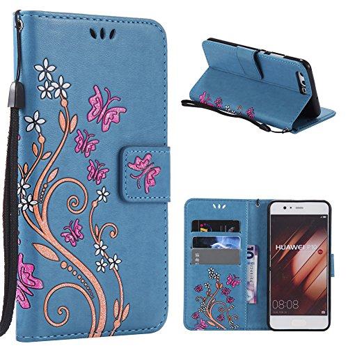 KM-WEN® Schutzhülle für Apple iPhone 7 / iPhone 8 (4,7 Zoll) Bookstyle Bunte Schmetterlinge und Blumen Muster Magnetverschluss PU Leder Wallet Case Flip Cover Hülle Tasche Schutzhülle mit Standfunktio Blau-1