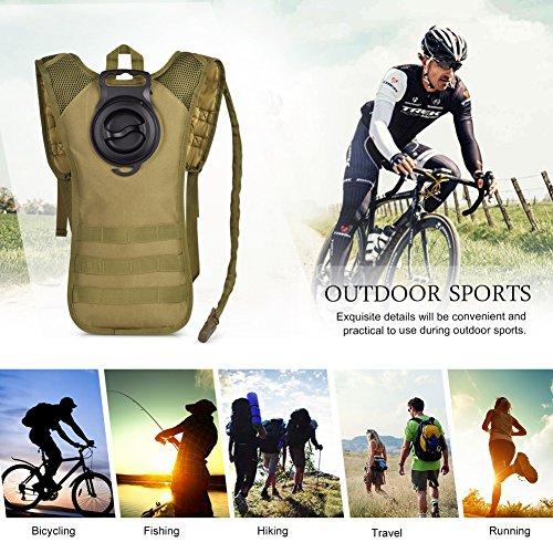 Vbiger Sacca Idratazione Impermeabile Zaino per Ciclismo, Escursionismo, Corsa, Campeggio, Camminata cachi(Con 2.5L Sacca Idratazione)