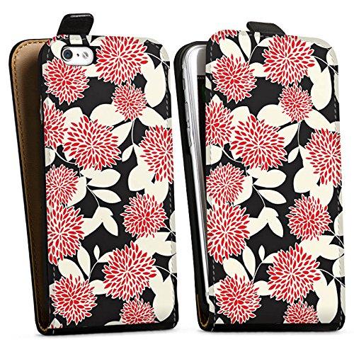 Apple iPhone X Silikon Hülle Case Schutzhülle Blumen Ornamente Muster Downflip Tasche schwarz
