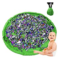 "Sycle circle 2in1 Toy Storage Bag & Floor Play Mat, Large Portable Tidy Organiser Sack 150cm (59"") with Drawstring, Foldable Clean Up Rug for Home Outdoor (Green)"