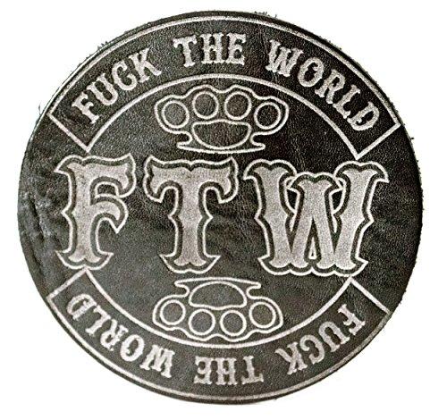 """Glas Untersetzer """"F.T.W."""" Fuck the World, Schwarz Whitened, handgearbeitet aus 100% echtem Vintage Leder, Kreisdurchmesser ist 11cm"""