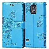 kazineer Funda Samsung Galaxy S5 Mini, Carcasa Samsung S5 Mini Premium Cuero Cartera Fundas para Samsung Galaxy S5 Mini (Azul Turquesa)