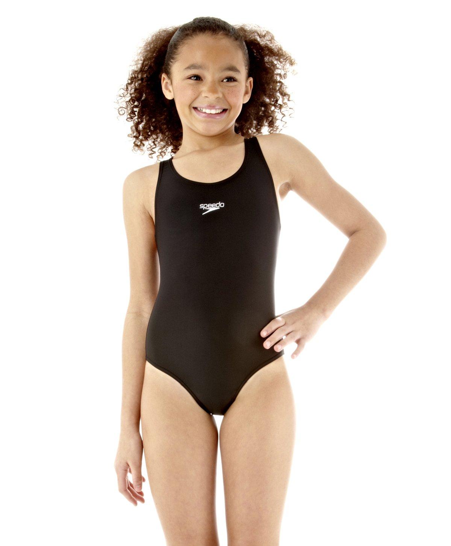 Speedom Splashback Solid Costume da bagno intero da bambina, Nero, 116
